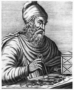 Archimède, savant grec. Gravure anonyme du XVIe siècle. Ph. Coll. Archives Larbor